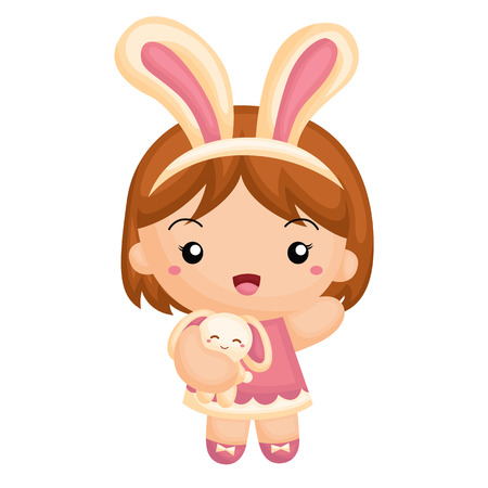 cartoon kid: Girl and the little bunny Illustration