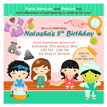 beautiful girl cartoon: Spa party invitation