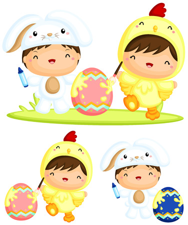 cartoon kid: Happy Kids Painting Easter Egg