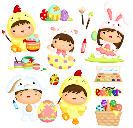 Kids in Easter Costume Vector Set Çizim