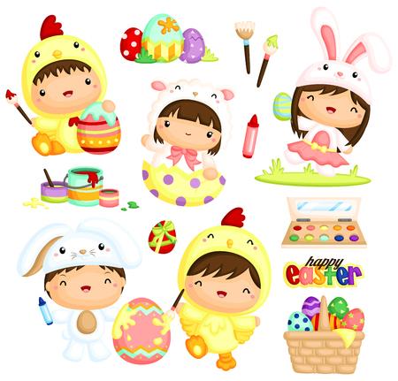Kids in Easter Costume Vector Set Vectores
