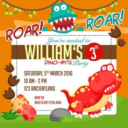 cartoon dinosaur: Dinosaur Party invitation