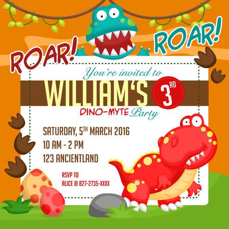 uitnodiging van de Partij van de dinosaurus