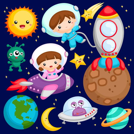 Kids at the outer space Stock Illustratie