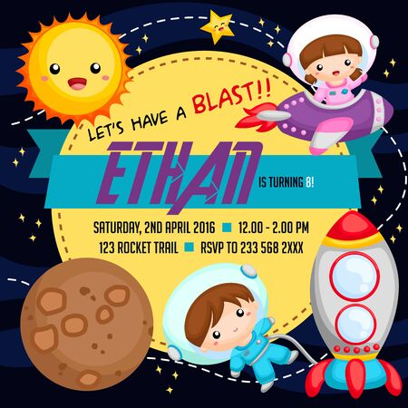 birthday invitation: Outer space birthday invitation