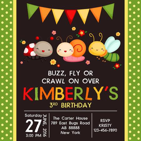 Cute Bugs Uitnodiging van de Verjaardag Vector Illustratie