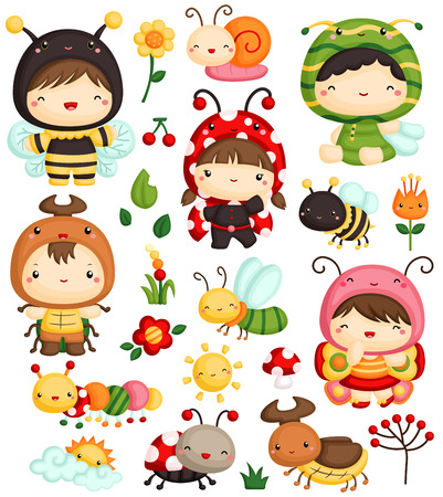bug cartoon: Kids in Bugs Costume Set Illustration