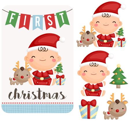 Baby Boy First Christmas Set