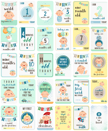baby sleeping: Baby Boy Milestone Cards Illustration