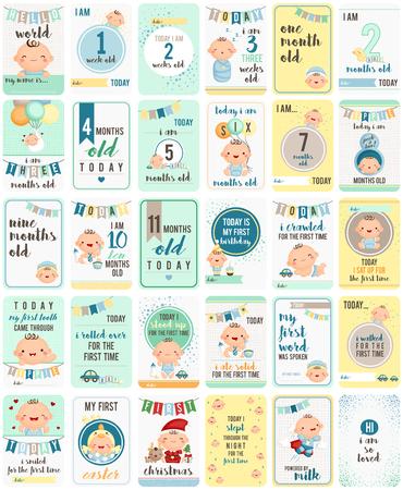 huevo caricatura: Tarjetas del bebé Milestone Vectores