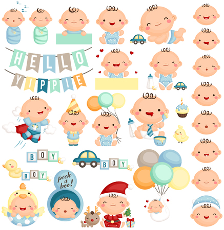baby illustration: Baby Boy Milestone Set