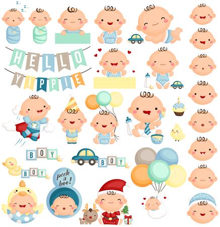 bebe sentado: Conjunto del bebé Milestone Vectores