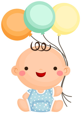 sit: Baby Boy Sit Holding Balloon