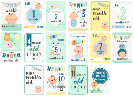 Baby Boy Weeks and Months Card Reklamní fotografie - 54922302