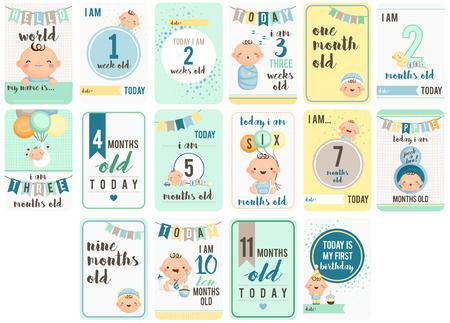 Baby-Wochen und Monate Karte Standard-Bild - 54922302