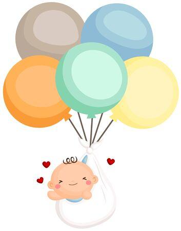 Baby Boy Newborn Fly with Balloon