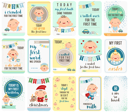bébés: Baby Boy Stepping Cartes Pierre Illustration