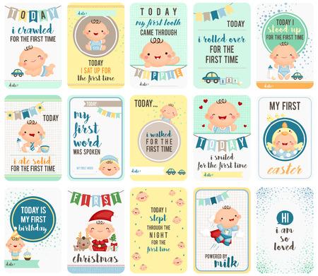 bebe sentado: Intensificaci�n del beb� Tarjetas de Piedra Vectores