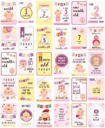 赤ちゃん女の子マイルス トーン カード  イラスト・ベクター素材