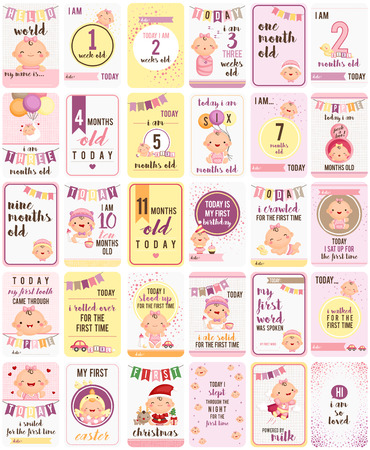 Baby Girl karty Milestone Ilustracje wektorowe