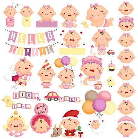 chick cartoon: Baby Girl Milestone Set