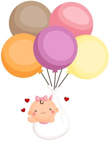 Bebé bebé recién volar con el globo