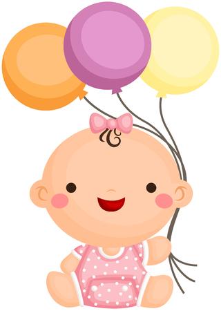 baby girl: Baby Girl Sit Holding Balloon Illustration