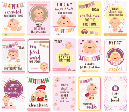 Baby Girl Stepping Stone Cards 向量圖像