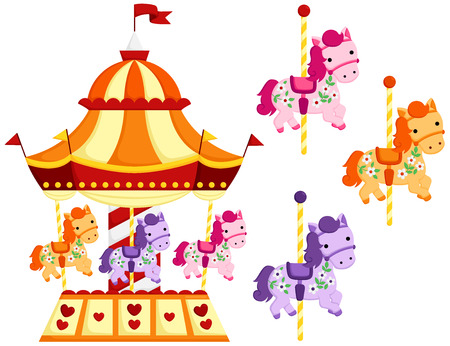 Cute Carousel and Horse Illustration