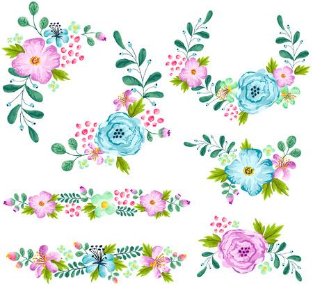 ブルーとターコイズ色の春花水彩セット
