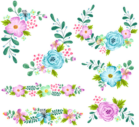 Blue and Turquoise Spring Flower Watercolor Set
