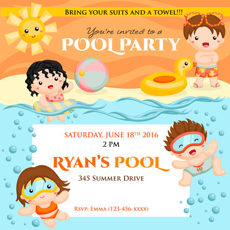 Swim party invitation Stok Fotoğraf - 60070839