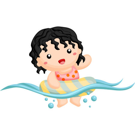 curly hair: Curly hair girl swimming happily Illustration