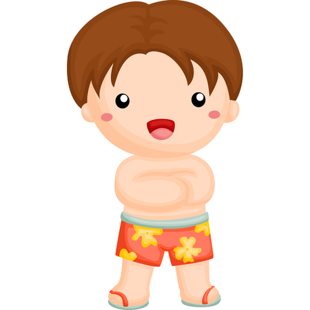 to laugh: Boy wearing a swim pants