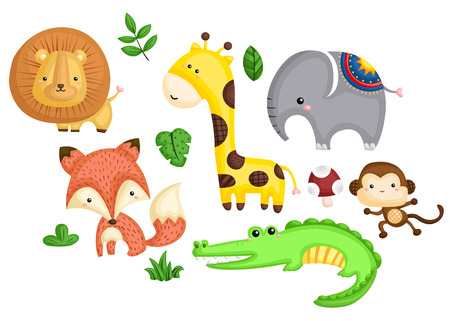 one animal: many colorful animal in one image Illustration