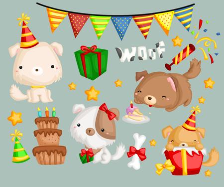 dog: a dog with birthday present