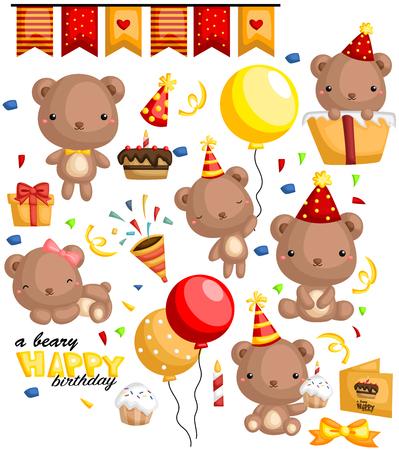 cute bear: A Beary Birthday Illustration