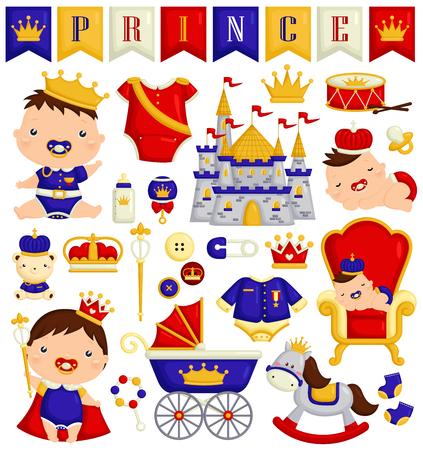 Baby Boy in Prince Costume Vector Set
