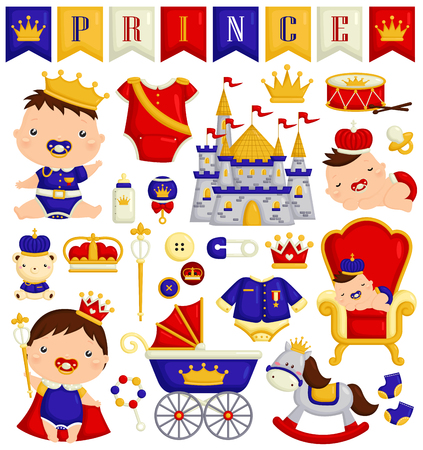 Baby Boy in Prince Costume Vector Set