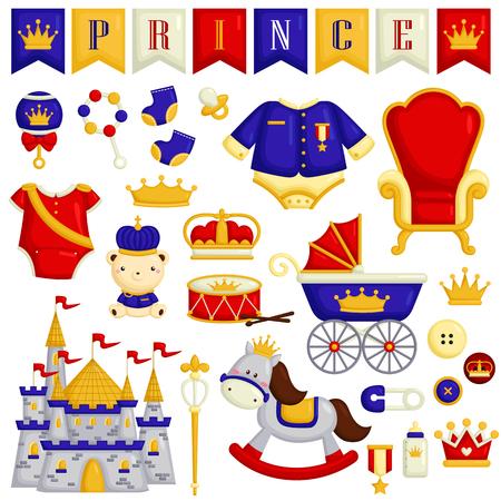 cute bear: Baby Prince Items Illustration
