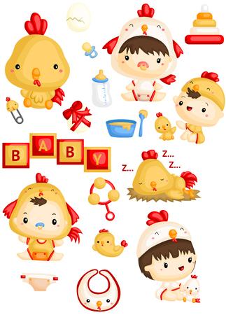 Bebé en traje de pollo