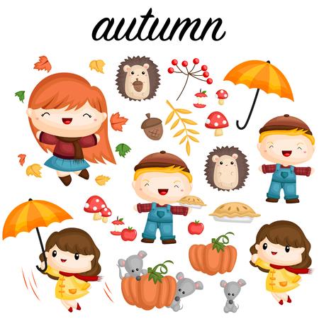 pareja comiendo: Conjunto de vectores de otoño