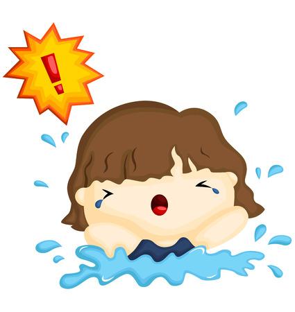 Drowning Girl Illustration