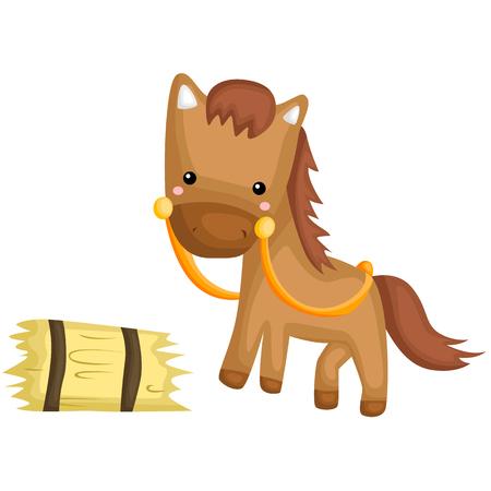 Icona di cavallo e fieno. Archivio Fotografico - 85985769