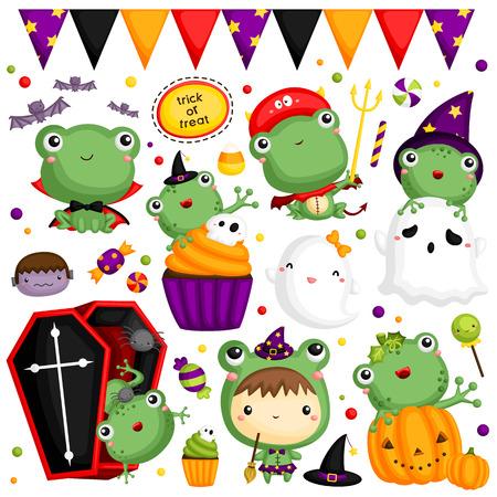Zestaw ikon stylu kreskówek Halloween żaba. Ilustracja