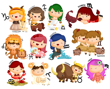 Horoscope Vector set Çizim
