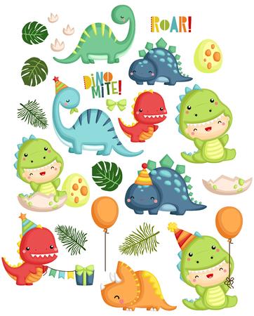 Dinosaurio, cumpleaños, niño, vector, conjunto