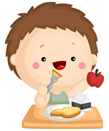 a kid eating a healthy breakfast containing apple, milk, and toast Vetores