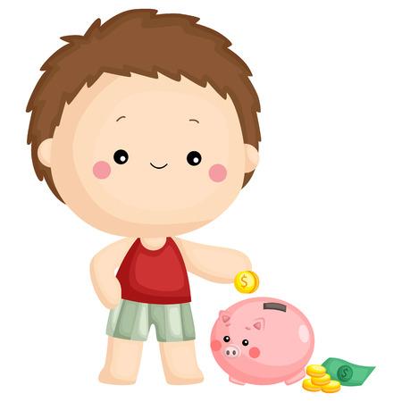 ein Kind legt sein Geld ins Sparschwein Vektorgrafik