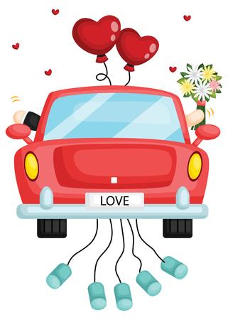 una pareja en el auto justo después del matrimonio Ilustración de vector